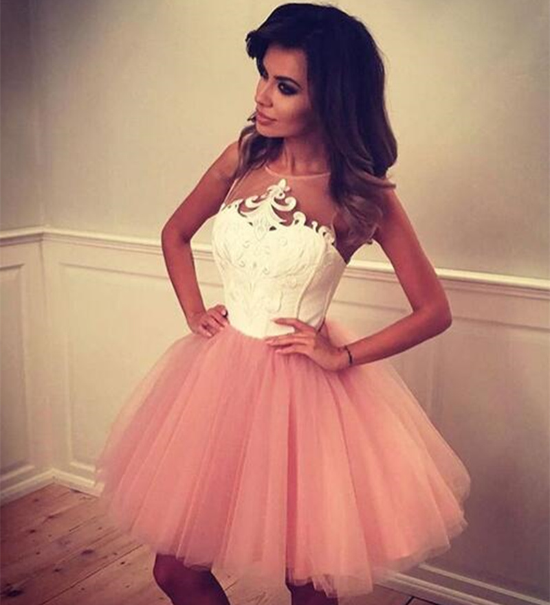 Cute A-line Blush Pink Prom Gown Homecoming White Tops Wedding Party Dress