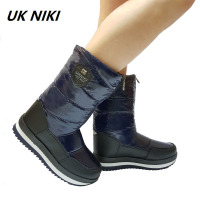 UKNIKI Fashion Female Shoes Women Winter Boots Snow Boots Warm Fur Plush Insole Mid Calf Boots