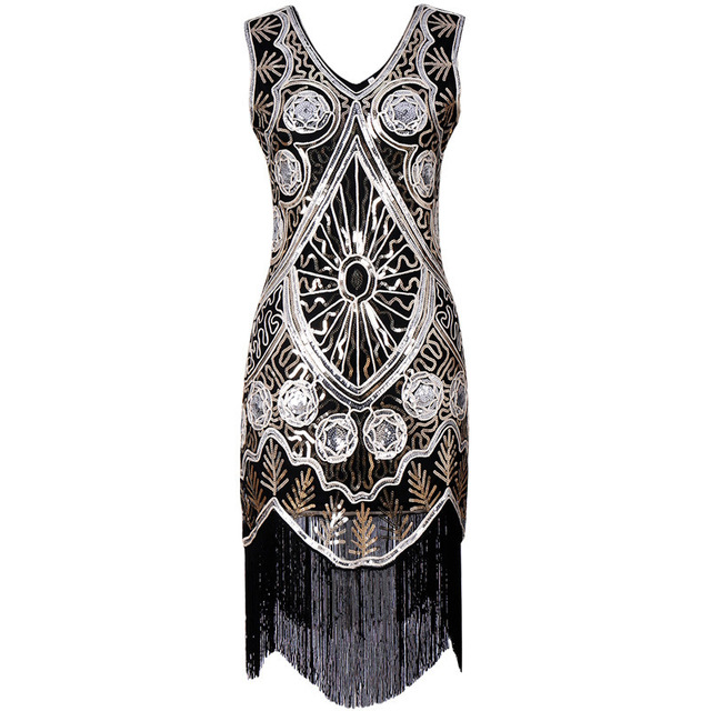 Women s Clothing 1920s flapper great gatsby dress vintage glitter beading  sequin short party gown embroidery dress 765ce81f960e