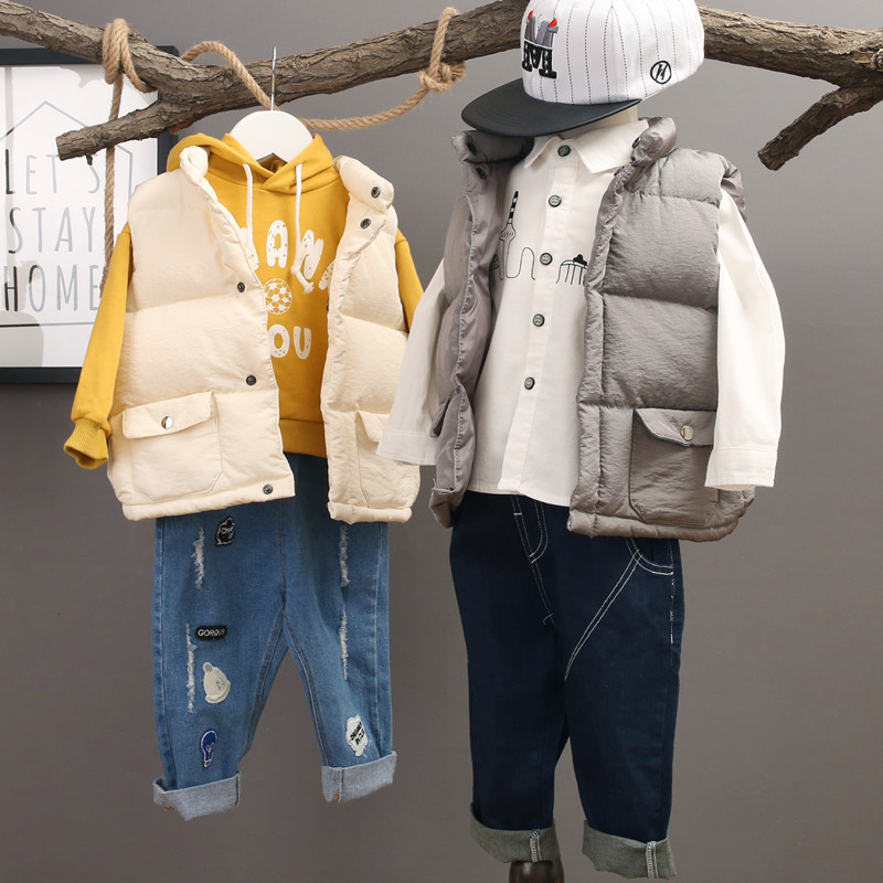 Kids Vest Outerwear Baby Solid Color Waistcoat 2-9 Years 2017 Autumn Winter Girls Boys Vests Children's Down Cotton Warm Vest