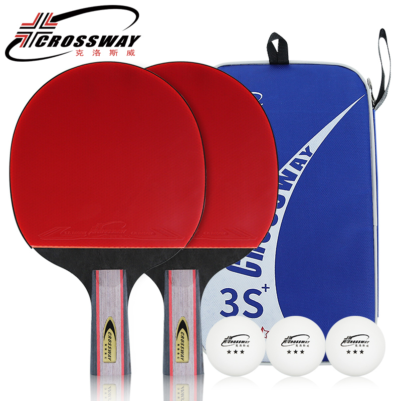 CROSSWAY Professional Table Tennis Racket Beginner Three Stars Horizontal Grip Straight Grip One Pack of 2 Rackets and 3 Balls
