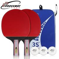 CROSSWAY Professional Table Tennis Racket Beginner Three Stars Horizontal Grip Straight Grip One Pack of 2 Rackets and 3 Balls