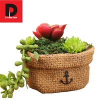 Dehomy Small Sacks Flower Pot Micro-landscape Pieces Of Resin Multi-flower Pots Garden Decor Fabrics Incorporating Flower Pot