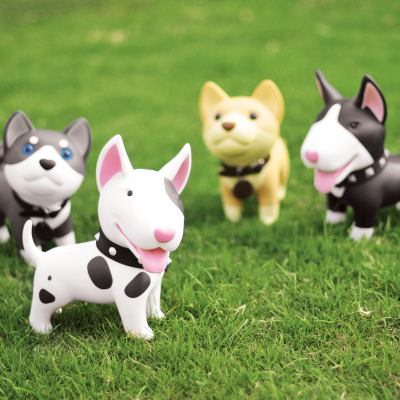 Japanese Cartoon Cute farm animal pet Shiba Inu Bull Terrier Husky figurine Piggy Bank Kids Toy Christmas Gift