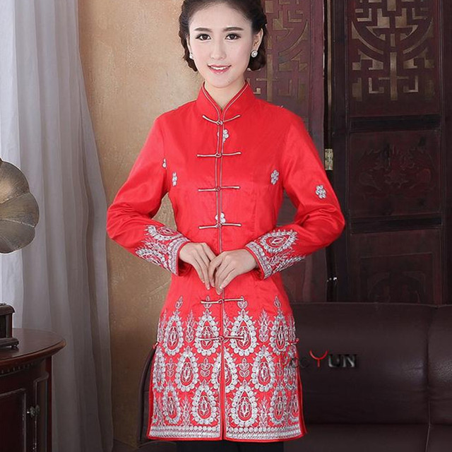 Traditional Chinese Clothing Boutique Большой красный блесток вышивка серебряной проволоки Воротник праздничный костюм с длинными рукавами Топы