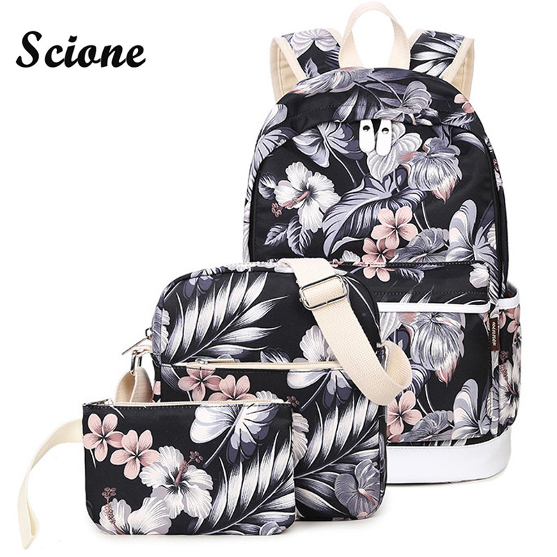 Scione Set Backpack Women Flower Printing Backpack Canvas Travel Back Pack School Bags for Teenagers Girls