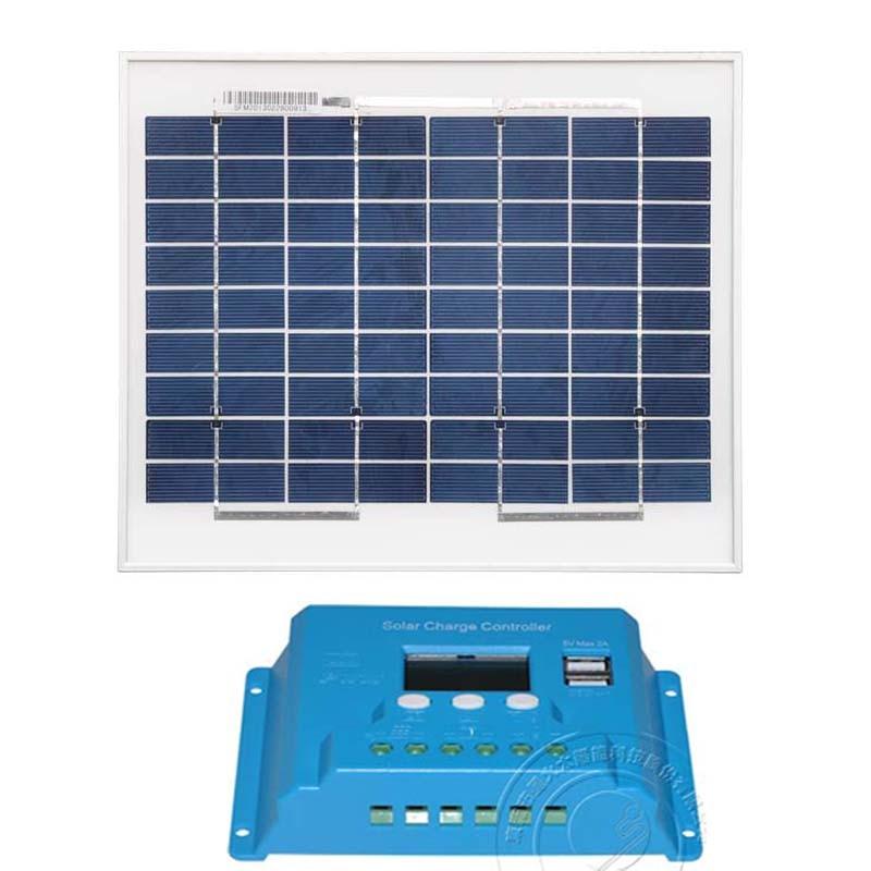 Kit de Panel Solar 12v 10w Solar batería controlador de carga Solar 12 v/24 v 10A LCD PWM Dual USB Solar casa Sistema de luz de coche