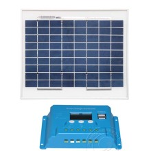 Solar Panel Kit 12v 10w Battery Charge Controller 12v/24v 10A LCD PWM Dual USB Home Light System Camping Car