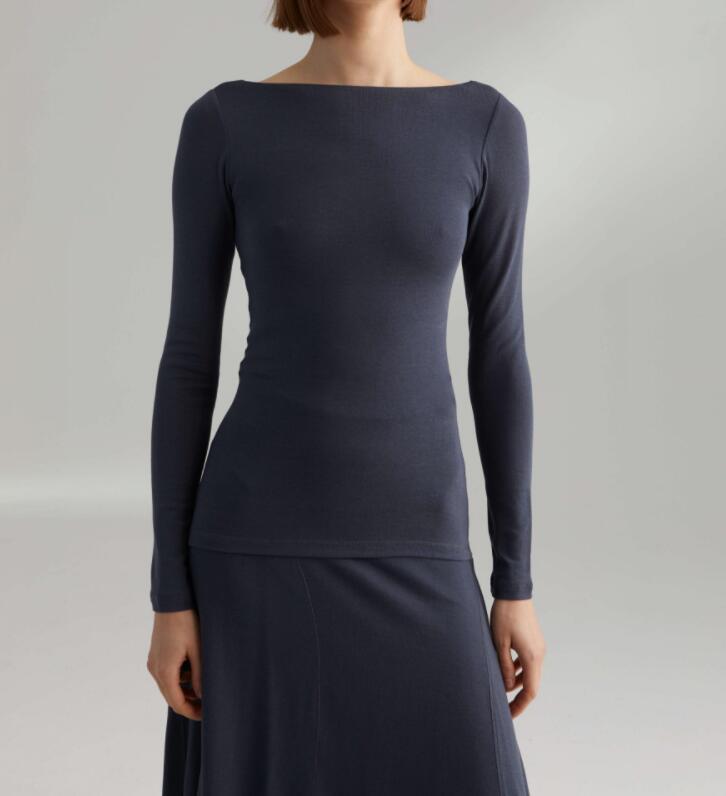 Niebieski świt wiskoza dzianiny topy z dekoltem w łódkę z wycięciem z tyłu z długim rękawem koszulki Skinny elastyczne rajstopy kobieta Top w Koszulki od Odzież damska na  Grupa 1