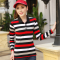 2016 New Brands Polo Shirt Poleras De Mujer Slim Long-Sleeve Fashion Striped Women Tops&Tees Cotton Big Yards Ladies Polo Shirt