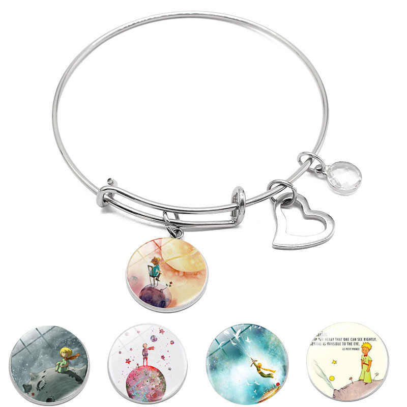 Stainless Steel Bracelet Jewelry with Silver Plated Glass Cabochon Little Prince Shaped Heart Charm Bracelet Bangle for Unisex