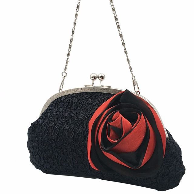 Elegant Women Satin Handbag Small Evening Bags Rose Floral Women s Party  Clutch Flower Female Wedding Handbags Lace Black Phone