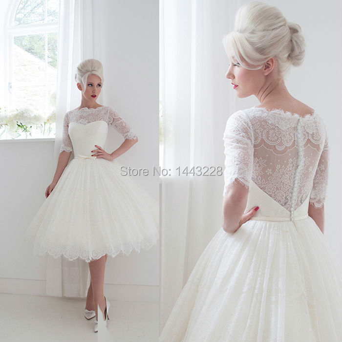 ball gown illusion neckline half sleeve sheer backless lace tea length wedding dress vintage bridal gown