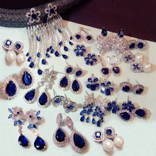 Fashion Vintage Flower Pearl Royal Blue Crystal Stone Long Tassel Earrings Cubic Zirconia women Weddings Hanging Earrings