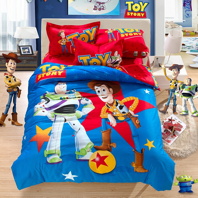100% cotton cartoon bedding sets Madagascar Toy Story bed sheet ... : toy story quilt cover set - Adamdwight.com