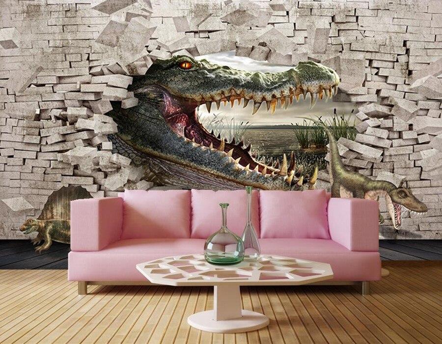 Krokodil schildpad dinosaurus 3D dimensionale schilderij behang ...