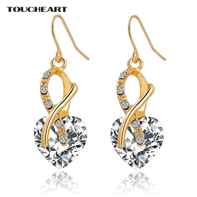 Luxury AAA Cubic Zirconia Gold Plated Crystal Heart Earrings
