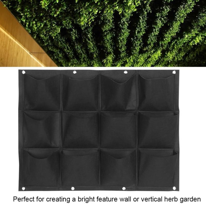 Image 4 - Vegetable Plant Wall Hanging Garden Vertical Gardening 4/7/12/15/18 Pockets Black Felt Fabric Grow Bag Pots Garden Supplies-in Grow Bags from Home & Garden