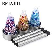 BEIAIDI 3pcs RGB Mosaic Solar Garden Stake Light Stainless Steel Solar Landscape Pathway Lawn Lamp Outdoor
