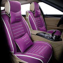Universal flax car seat cover for Audi A6L R8 Q3 Q5 Q7 S4 RS Quattro A1 A2 A3 A4 A5 A6 A7 A8 auto accessories car stickers(China)