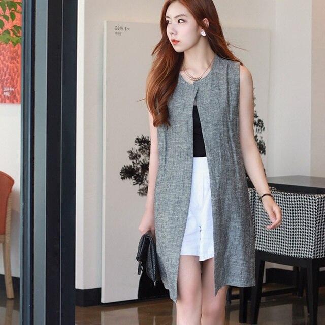 Hot ! 2015 new brand spring plus size long vest casual dress cheap vintage punk sleeveless coat cotton cardigan women clothing