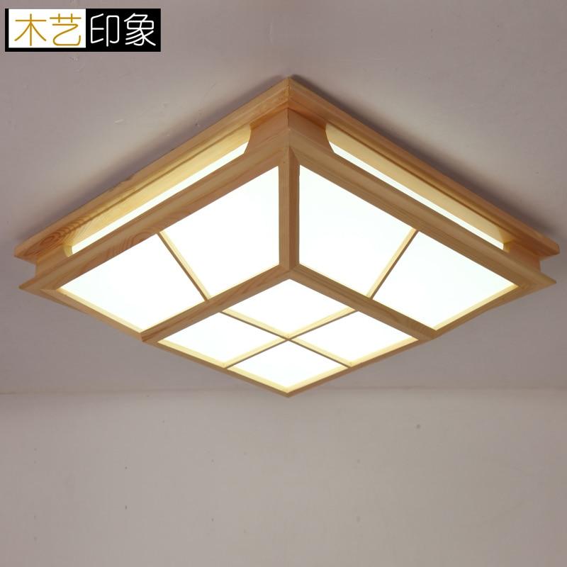 Wooden elegant wood Japanese tatami room ceiling lamps of new Chinese Garden Restaurant log LED ceiling lamps ZA MZ41