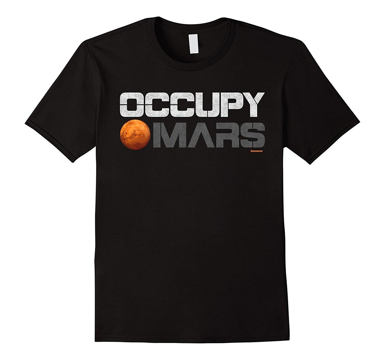 Занимают Марс футболка Для мужчин модные черный хлопок Для мужчин хлопковая Футболка с принтом Топ Футболка Для мужчин новый Высокое качес... ...