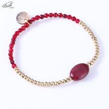 Badu Natural Stone Beads Bracelet Charm Women Gold Copper Beaded Big Size Bracelets Daily Fashion Jewelry