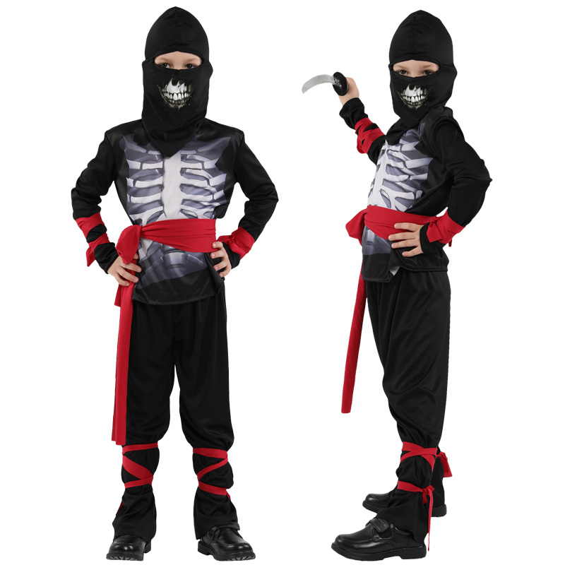 Halloween Super handsome Boy black Ninja Warrior Ghost cosplay costumes Christmas Day New Year Purim party game gift dress up