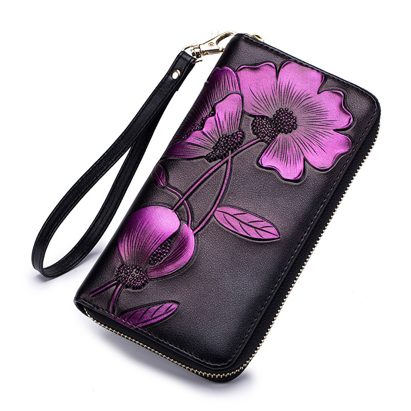 2018 New Lady Long Purse Leather RFID Zipper Women Wallet Personality Manual Drawing Solid Flower Clutch High-capacity 50 ...