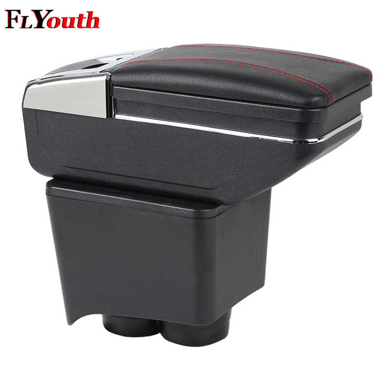 For Volkswagen Old Polo 9N 2002-2009 Armrest Box Central Store Content Storage Box Center Console Leather Cup Holder Dual Layer