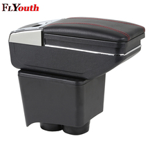 купить For Volkswagen Old Polo 9N 2002-2009 Armrest Box Central Store Content Storage Box Center Console Leather Cup Holder Dual Layer онлайн