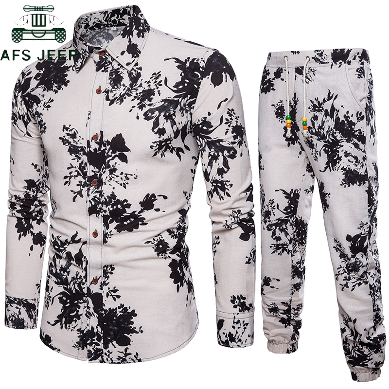 2019 Summer Floral Printed Vacation Beach Men Shirts Set Top + Pants Casual Shirt Suits Big Size 5XL Gothic Men Shirt Pant Sets
