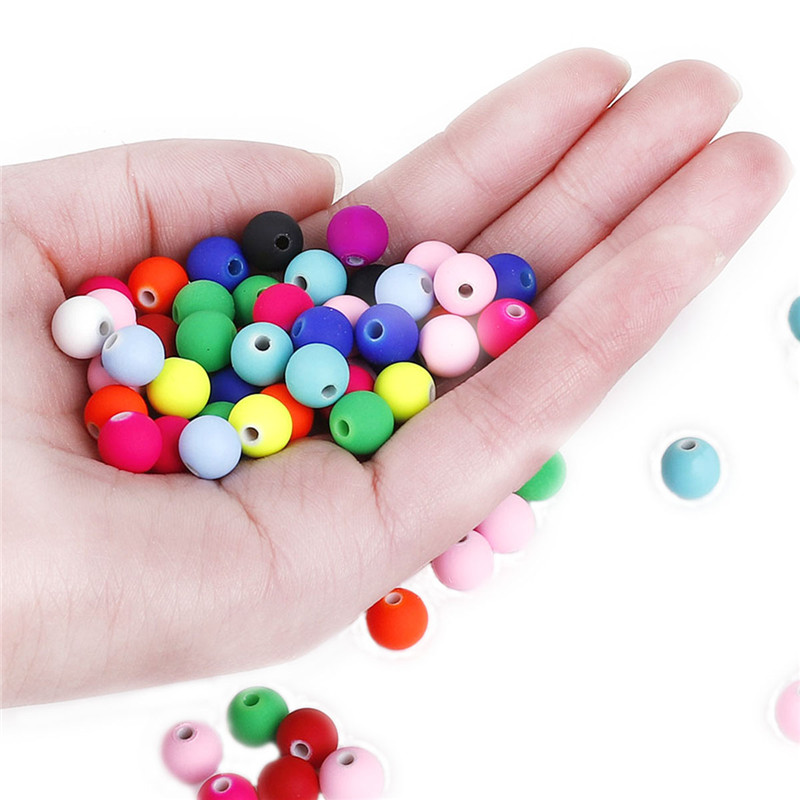 Beads Frugal Rubber Acrylic Beads Candy Color Neon Matte Loose Beads Handmade For Jewelry Making Bracelet Earring Diy Approx 50pcs 8mm Pleasant In After-Taste