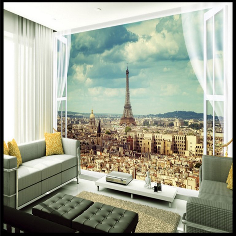 Beibehang Large Scale Custom Wallpaper Paris Eiffel Tower City Architecture  Landscape Living Room Bedroom TV Backdrop In Wallpapers From Home  Improvement On ...