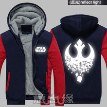 hot deal buy new winter jackets coats star wars hoodie film reflect light hooded cool thick zipper men sweatshirts