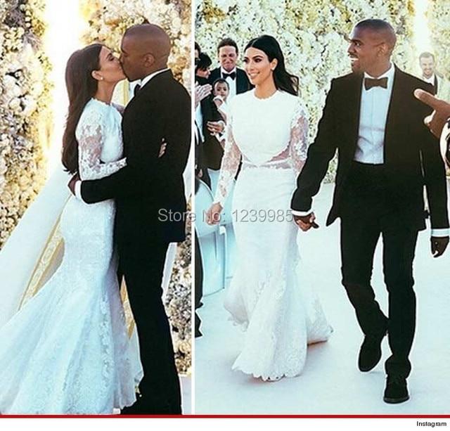 Kim Kardashian Hochzeitskleid Elegante Weiß Scoop Langen Ärmeln ...