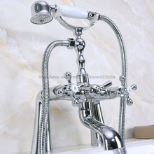 цена на Deck Mounted Chrome Clawfoot Bathtub Faucet telephone style Bath Shower Water Mixer tap with Handshower Nna125