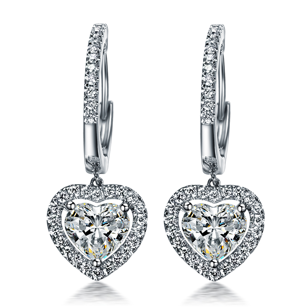 Heart Promise Love 1 5ct Piece Earrings Lovely Diamond Dangle For Women Sterling Silver Jewelry 18k Gold Plated In From