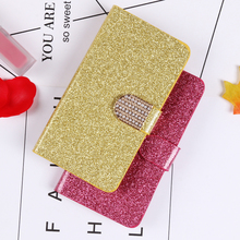 QIJUN Glitter Bling Flip Stand Case For Huawei Ascend Y3 Y3C Y336 Y360 Y336-U02 4.0 Wallet Phone Cover Coque