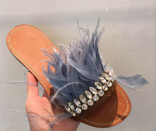 2017 summer newest leather shoes beautiful feather crystal embellished flat slippers woman sexy open toe sandal blue black  2017 newest summer black brown leather sandal for woman sexy open toe flat crystal sandal sequins bead t strap buckle shoes