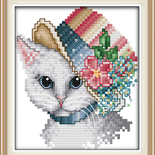 A noble cat(1) DMC cotton Animals cross stitch kits 14ct whi
