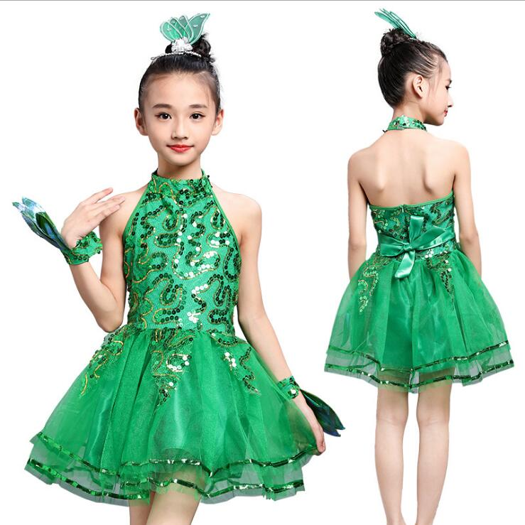 2019 Sexy green Latin Salsa Dompetition Dresses Girls Rumba Ballroom Tango Dresses Performance Dance Costumes For Kids