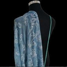 Blau Seide Chiffon Stickerei 100% Silk Kleid Hochzeitskleid Stoff Jacquard-spitze Stoff Tuch 2016