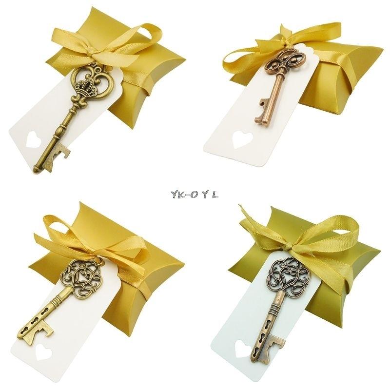 Vintage Key Bottle Opener Paper Tags Candy Bag Wedding Souvenirs Favors Festive Party Supply