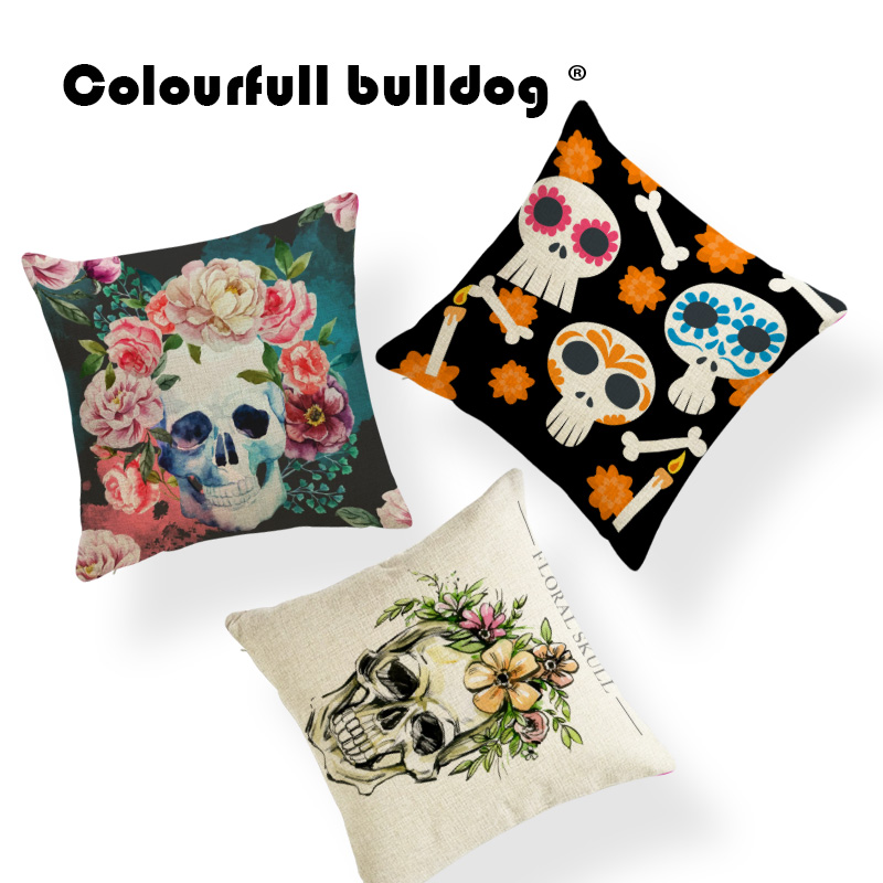 Sugar Maxican Skull Cushion Covers Game Chair Decor 45*45Cm Striped Flower Candle Decorate Party Living Room Sunset Pillow Cases