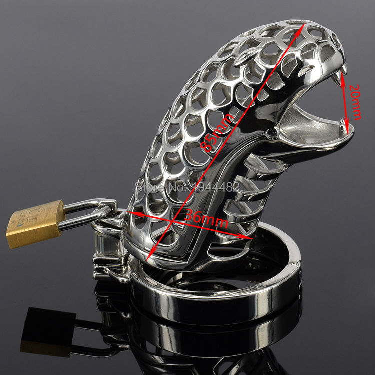 SODANDY Snake Chastity Device Male Metal Chastity Belt Stainless Steel Cock Cage Lock Penis Ring Bondage Gear Sex Toys For Men  small chastity device stainless steel cock cage metal male chastity belt penis ring bondage sex toys dragon totem virginity lock