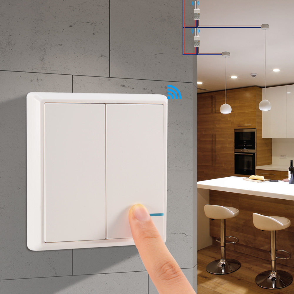 Wireless Light Switch Waterproof Remote Light Switches - No Wiring Quick Create Remote Control Ceiling Lamps LED Bulbs
