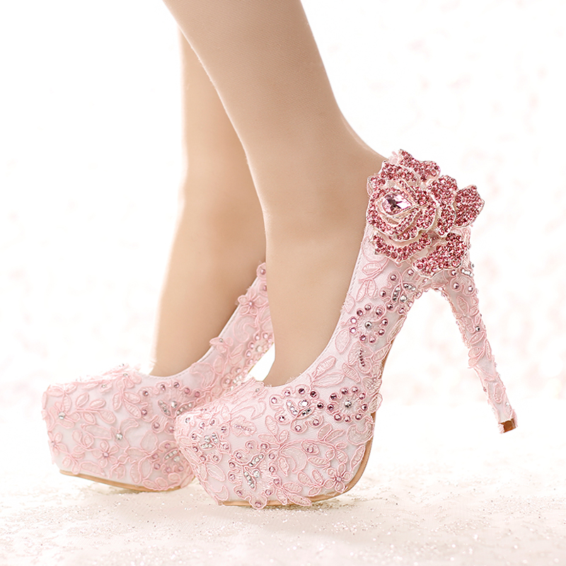 pink lace flowers shoe rhinstone bridal wedding shoe round toe fashion women's platform shoes  lace heel PUMPS free shipping