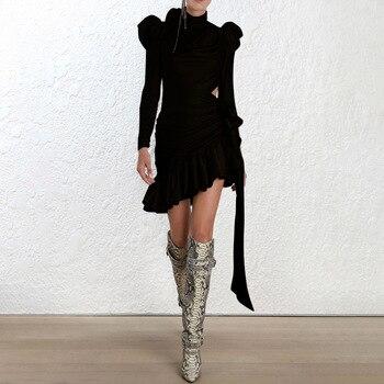 2c4dfd7e9 Cor bege Preto Ruffles irregular bodycon vestido das mulheres de manga  comprida 2018 moda primavera partido midi vestido vestidos
